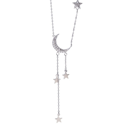 Hasina Cute Crescent Moon Star Dangle Earring Studs