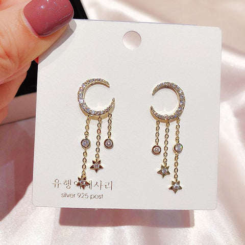 Abelia Beautiful Crystal Floral Flower Dangle Drop Earring Studs in Gold