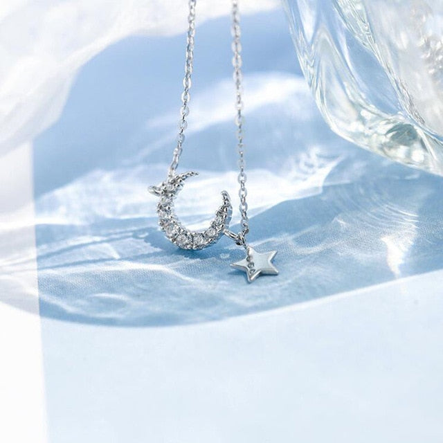 Cute Crystal Moon Star Dangle Chain Necklace Dainty Jewelry in Gold or Silver - www.Jewolite.com