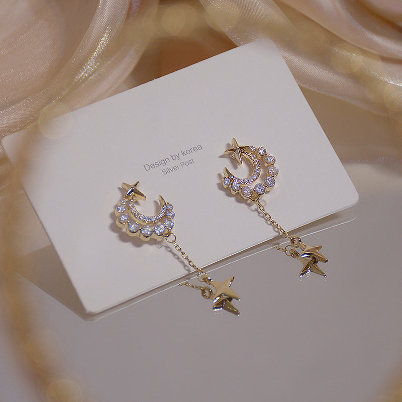 Classy Pretty Gold Moon Star Chain Drop Dangle Earring Studs Fashion Jewelry - www.Jewolite.com #earrings