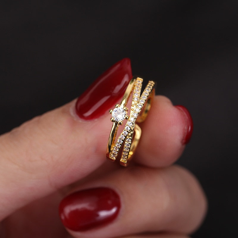 Cute Crystal Pave Gold Criss Cross Ring Fashion Jewelry - www.Jewolite.com  Edit alt text