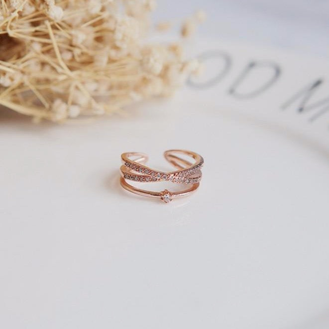 Aesthetic Ring Criss Cross Crystal Pave Adjustable Stackable Fashion Rings for Women - www.Jewolite.com