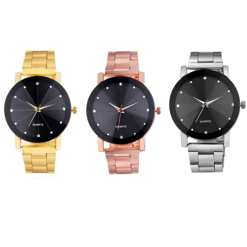 Women's Cute Modern Watch Black Face Crystal Numerals Minimalist Unique Luxury Jewelry for Watches Ladies in Silver, Black, Gold, Rose Gold - lindos relojes de las mujeres modernas - (www.Jewolite.com)