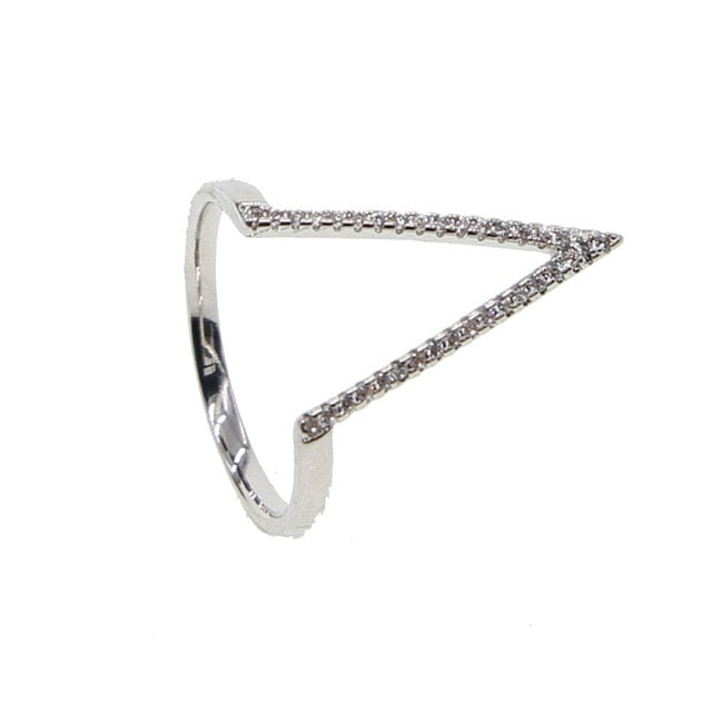 Unique Arrow Stackable Crystal Silver Rings Artistic Fashion Jewelry for Women for Teens Girls flecha anillos de cristal (www.jewolite.com)