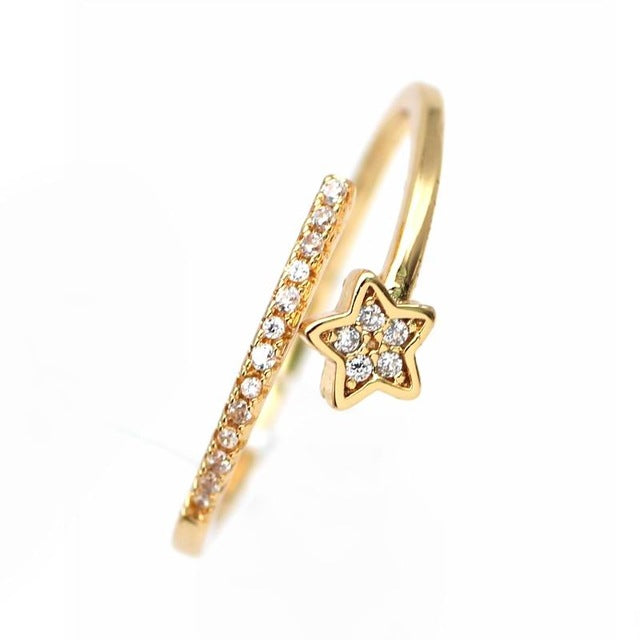 Cute Boho Dainty Star Adjustable Ring in Gold, Silver, Rose Gold Cool Fashion Jewelry for Teens Girls for Women lindo anillo de estrella (www.jewolite.com)