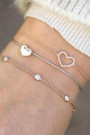 Cute Dainty Simple Heart Rose Gold Chain Bracelet Set Fashion Jewelry for Women for Teens Girls - www.Jewolite.com