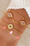 Cute Pink Gemstone Gold Bracelet Set Fashion Jewelry for Women for Teen Girls - www.Jewolite.com