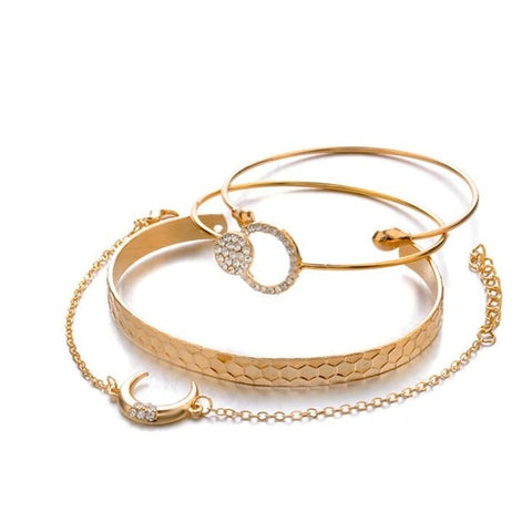 Kendall Cute Crystal Circle Gold Chain Bangle Bracelet Set 5 Pieces