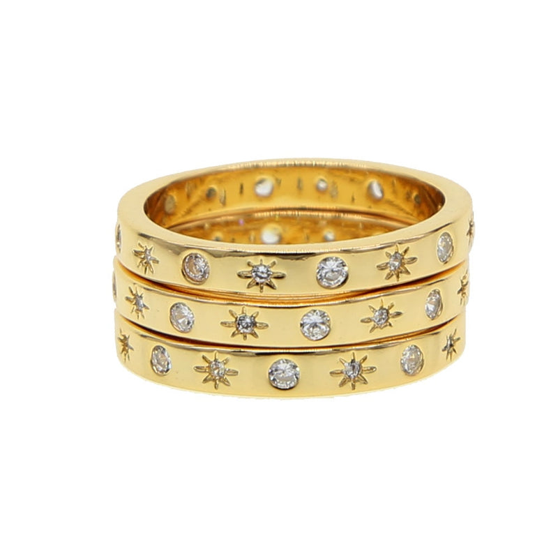 Cute Crystal Star Gold Ring Fashion Jewelry for Women -  anillo de oro estrella - www.Jewolite.com