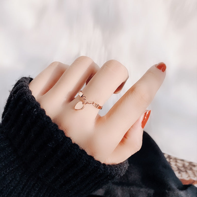 Cute Simple Dainty Heart Dangle Rose Gold Ring Fashion Jewelry for Women -  anillo de corazón de oro rosa - www.MyBodiArt.com #ring