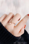 Cute Simple Dainty Heart Dangle Rose Gold Ring Fashion Jewelry for Women - www.Jewolite.com