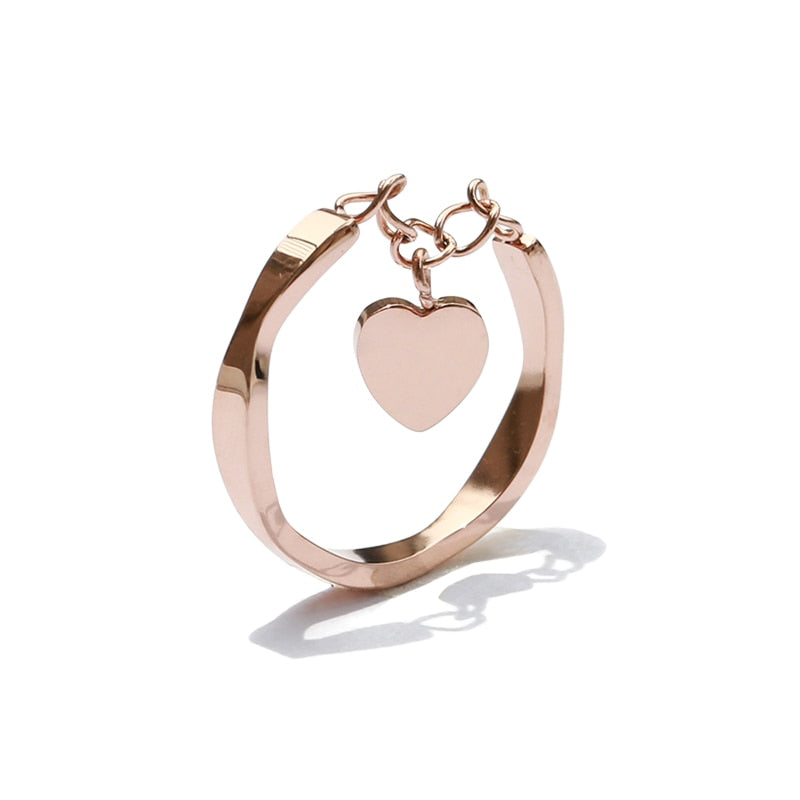 Avery Cute Simple Dainty Heart Dangle Chain Rose Gold Ring