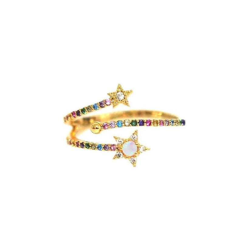 Cute Ring Opal Rainbow Crystals Sun Moon Ring Fashion Jewelry for Women  -  lindo anillo de luna estrella dorada - www.Jewolite.com #rings