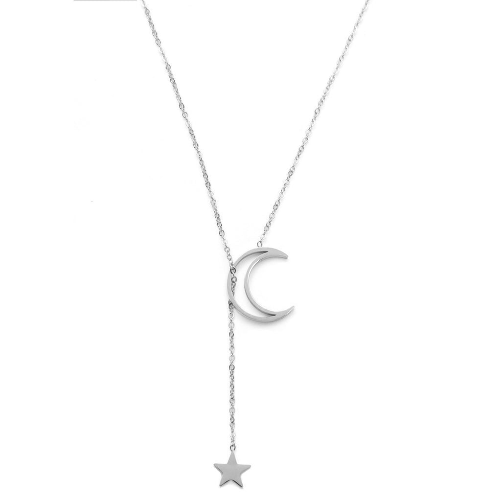Cute Dainty Star Moon Necklace Fashion Jewelry in Silver or Gold - www.Jewolite.com
