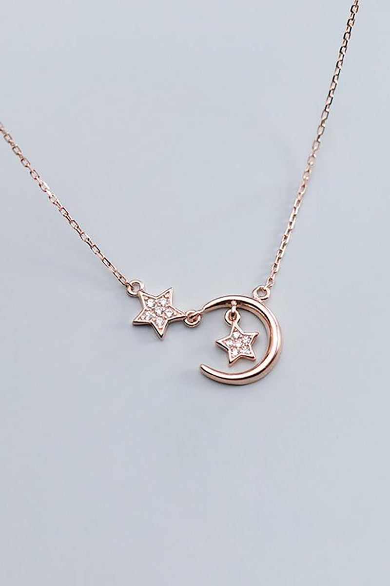Cute Dainty Moon Star Dangle Silver Chain Choker Necklace Women's Fashion Jewelry - www.Jewolite.com  Edit alt text