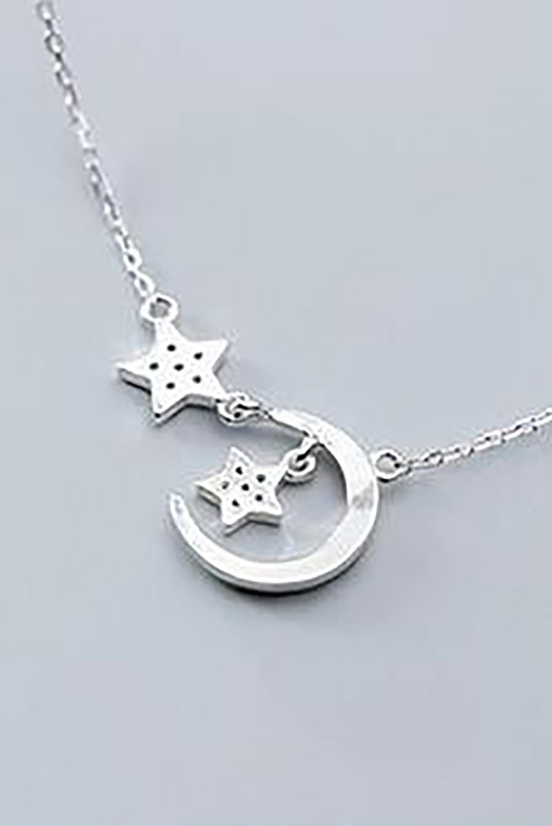 Cute Dainty Moon Star Dangle Silver Chain Choker Necklace Women's Fashion Jewelry - www.Jewolite.com
