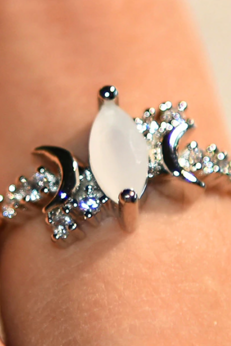 Cute Dainty Opal Crystal Moon Trending Ring Silver Statement Fashion Jewelry for Women - www.Jewolite.com #rings