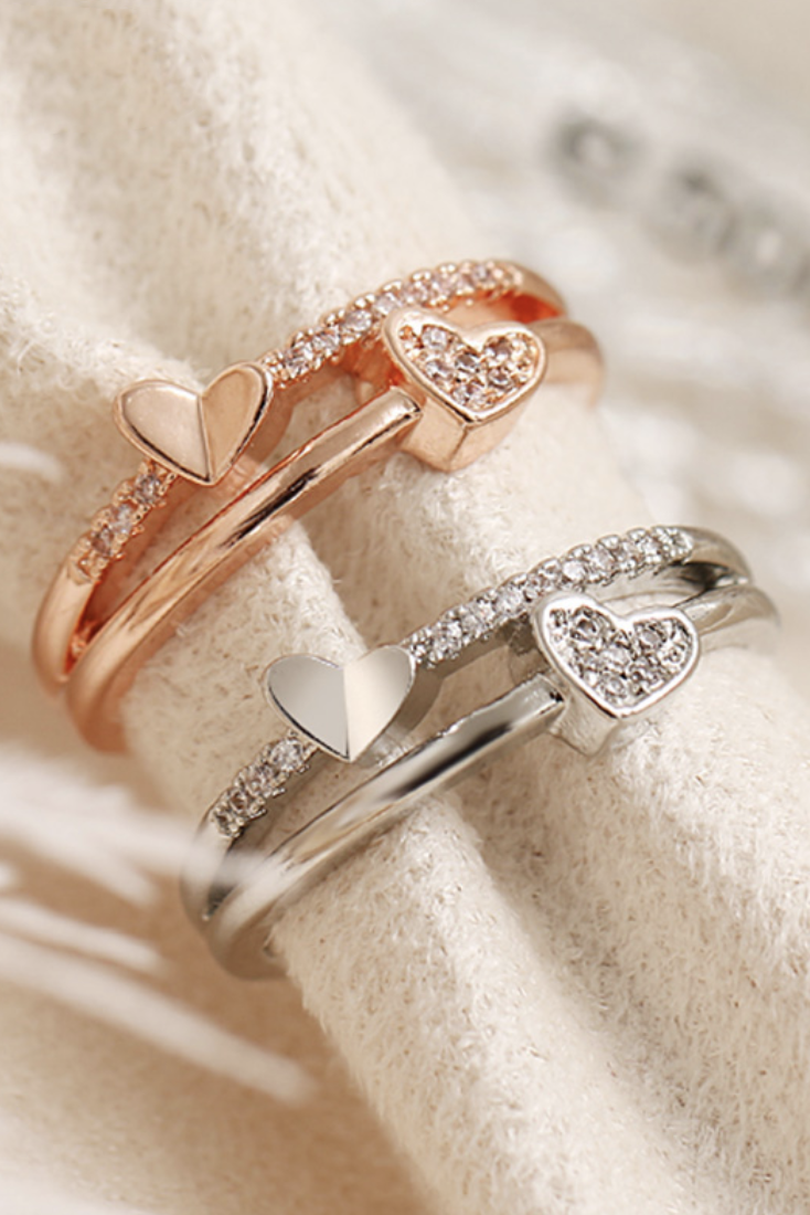 Cute Simple Double Crystal Heart Ring Fashion Jewelry for Women for Teen Girls  -  lindos anillos de corazón para chicas adolescentes - www.Jewolite.com #rings