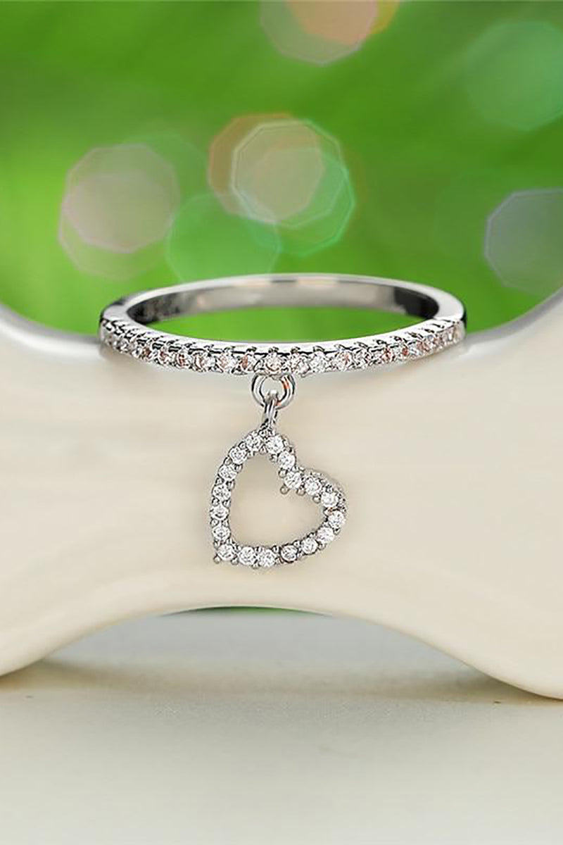 Cute Crystal Pave Heart Dangle Ring Fashion Jewelry - www.Jewolite.com #rings