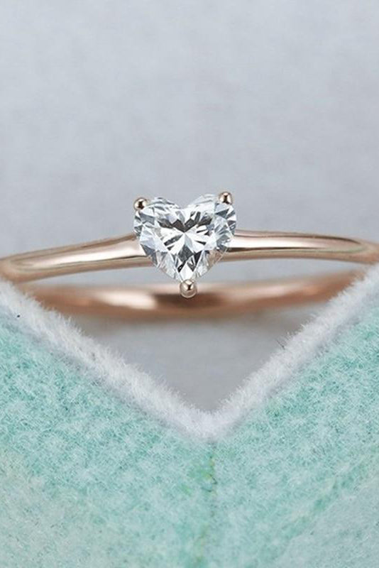 cute simple tiny small crystal heart solitaire ring fashion jewelry - anillo simple lindo corazón de cristal - www.Jewolite.com Edit alt text  Edit alt text