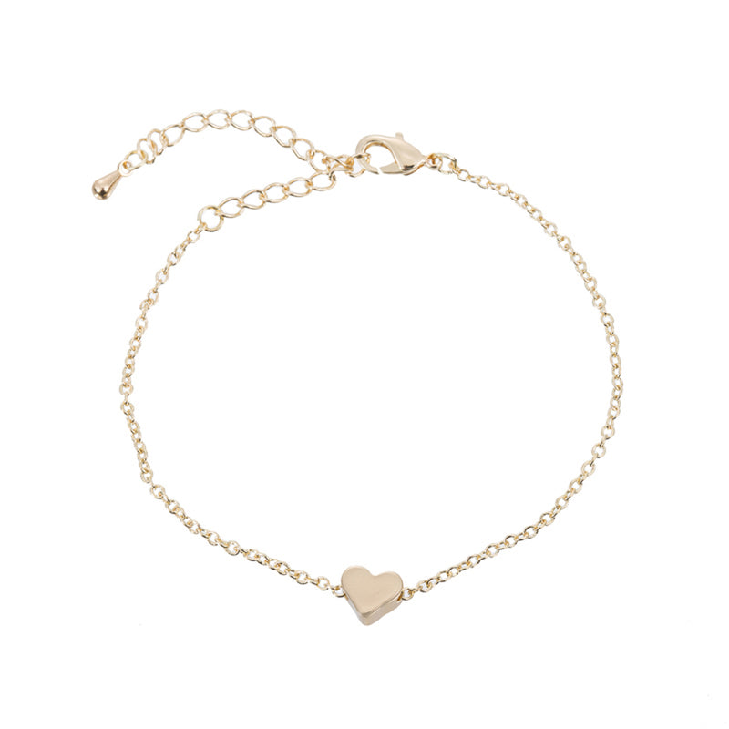 Cute Simple Bracelet Dainty Minimalist Heart Chain Bracelet in Gold, Silver Statement Fashion Jewelry for Women for Teen Girls (www.Jewolite.com) #bracelets
