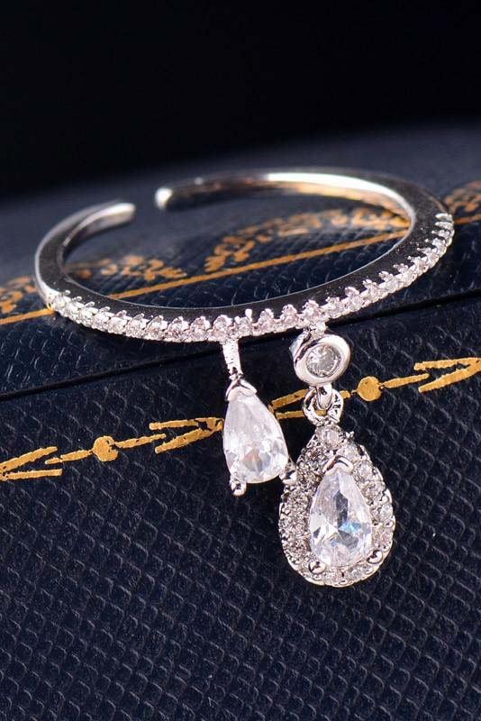 Cute Teadrop Crystal Pave Dainty Ring Fashion Jewelry for Women for Teen Girls - www.Jewolite.com Edit alt text