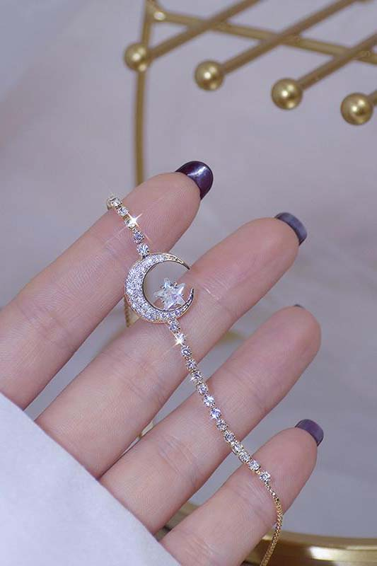 Cute Crystal Chain Moon Star Gold Chain Bracelet for Women - www.Jewolite.com #bracelets