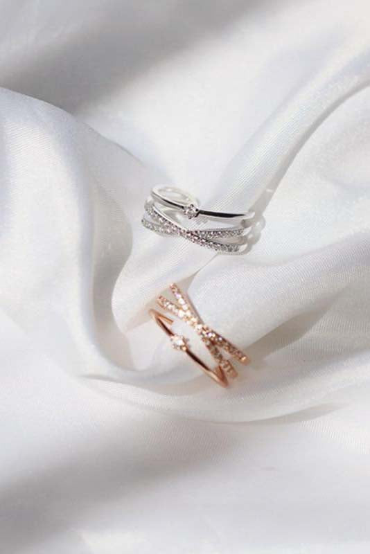 Aesthetic Ring Criss Cross Crystal Pave Adjustable Stackable Fashion Rings for Women - www.Jewolite.com #rings