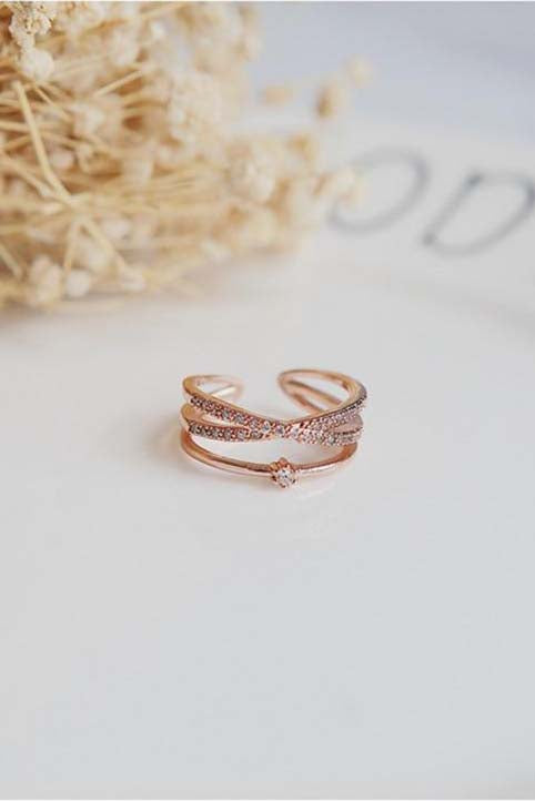 Aesthetic Ring Criss Cross Crystal Pave Adjustable Stackable Fashion Rings for Women - www.Jewolite.com #rings  Edit alt text