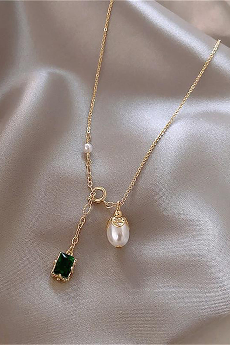 Cute Emerald Pearl Lariat Gold Chain Choker Necklace - www.Jewolite.com #necklaces