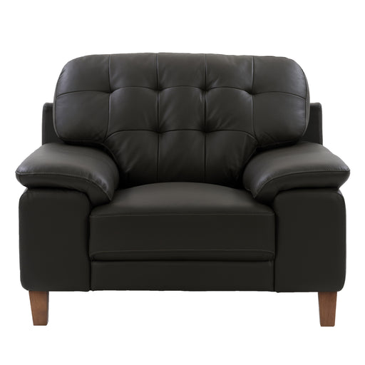 Burnaby Genuine Leather Chair with Sewn Tufted Backrest and Wide Arms *CLEARANCE - Final Sale*
