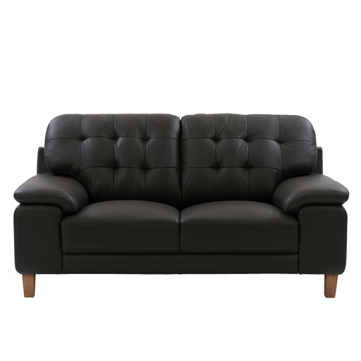 Burnaby Genuine Leather Loveseat with Sewn Tufted Backrest and Wide Arms *CLEARANCE*
