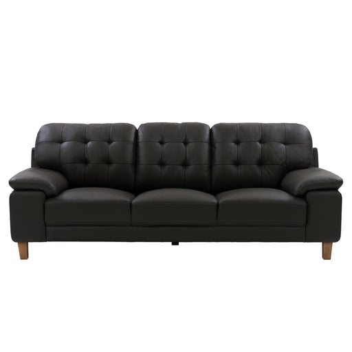Burnaby Genuine Leather Sofa with Sewn Tufted Backrest and Wide Arms *CLEARANCE*