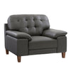 Genuine Leather Chair with Sewn Tufted Backrest and Wide Arms