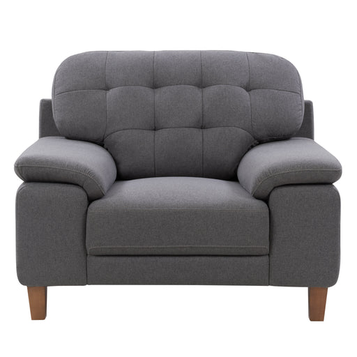 Burnaby Ultra Soft Fabric Chair with Sewn Tufted Backrest and Wide Arms, Medium Grey *CLEARANCE*