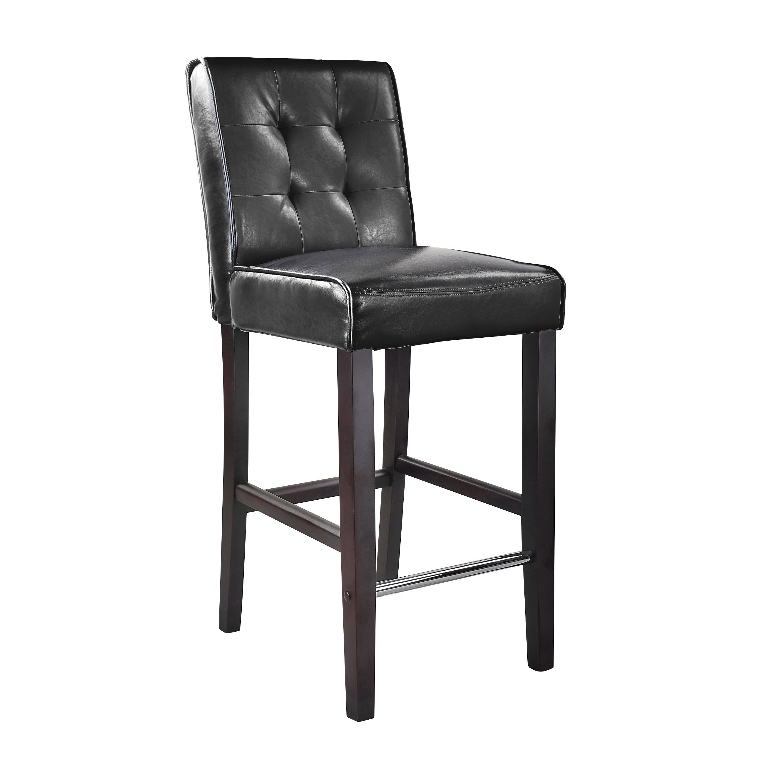 Picture of: Antonio Pu Leather Bar Height Bar Stool With Footrest Corliving Furniture