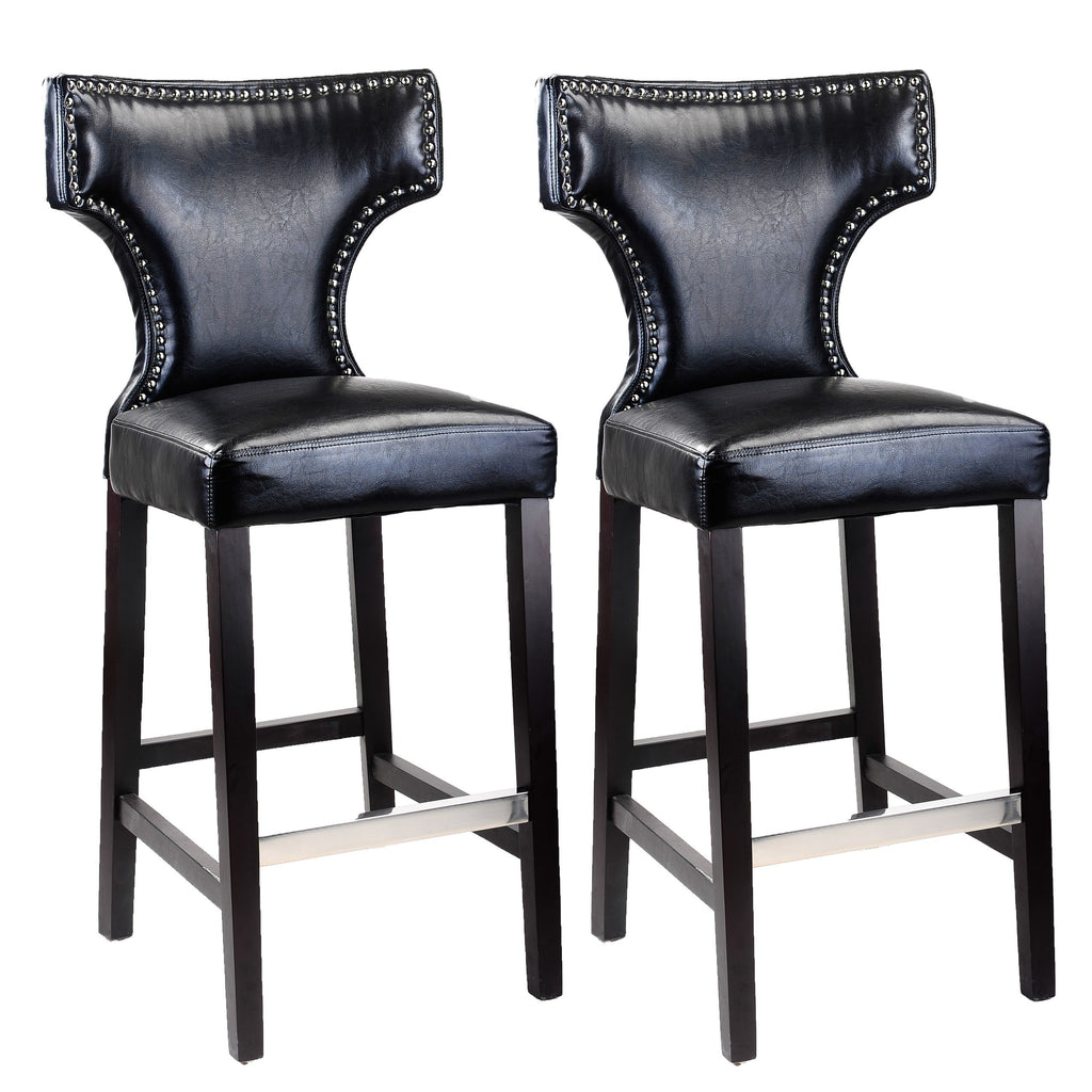 Antonio PU Leather Bar Height Bar Stool with Metal Studs, Set of 2 *CLEARANCE - Final Sale*