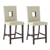 "Bistro Cappuccino 36"" Counter Height Dining Set - White Leatherette Chairs 5pc"