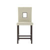 White Leatherette Counter Height Dining Chairs, Set of 2