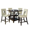 "5 Piece Cappuccino 36"" Counter Height Dining Set - White Leatherette Chairs"