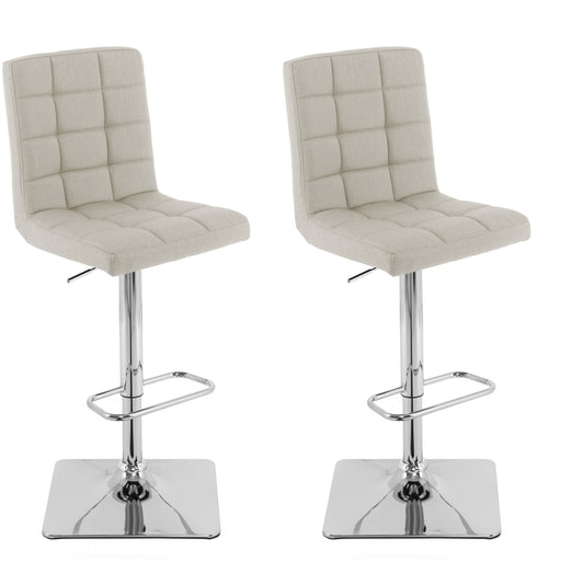Adjustable Square Tufted Fabric Bar Stool, Set of 2 *CLEARANCE - Final Sale*