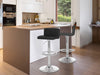 Adjustable Faux Leather Swivel Bar Stool, Set of 2