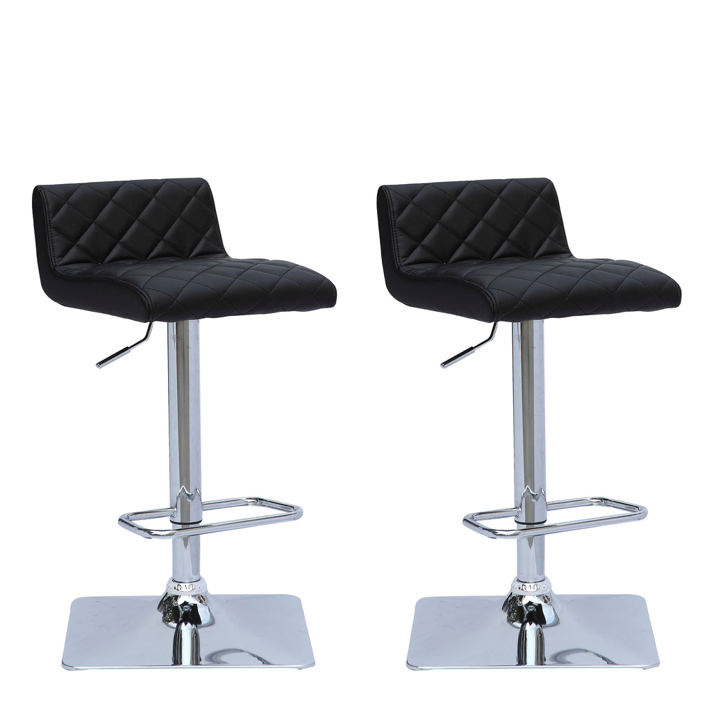 Adjustable Low Back Square Tufted Bar Stool Set of 2 - *CLEARANCE*