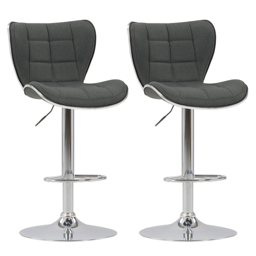 Adjustable Chrome Accented Bar Stool in Fabric, set of 2 *CLEARANCE - Final Sale*