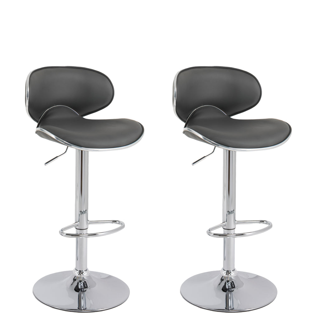 Curved Form Fitting Adjustable Barstool in Dark Grey Bonded Leather, Set of 2