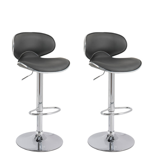 Adjustable Curved Bar Stool in PU Leather, Set of 2