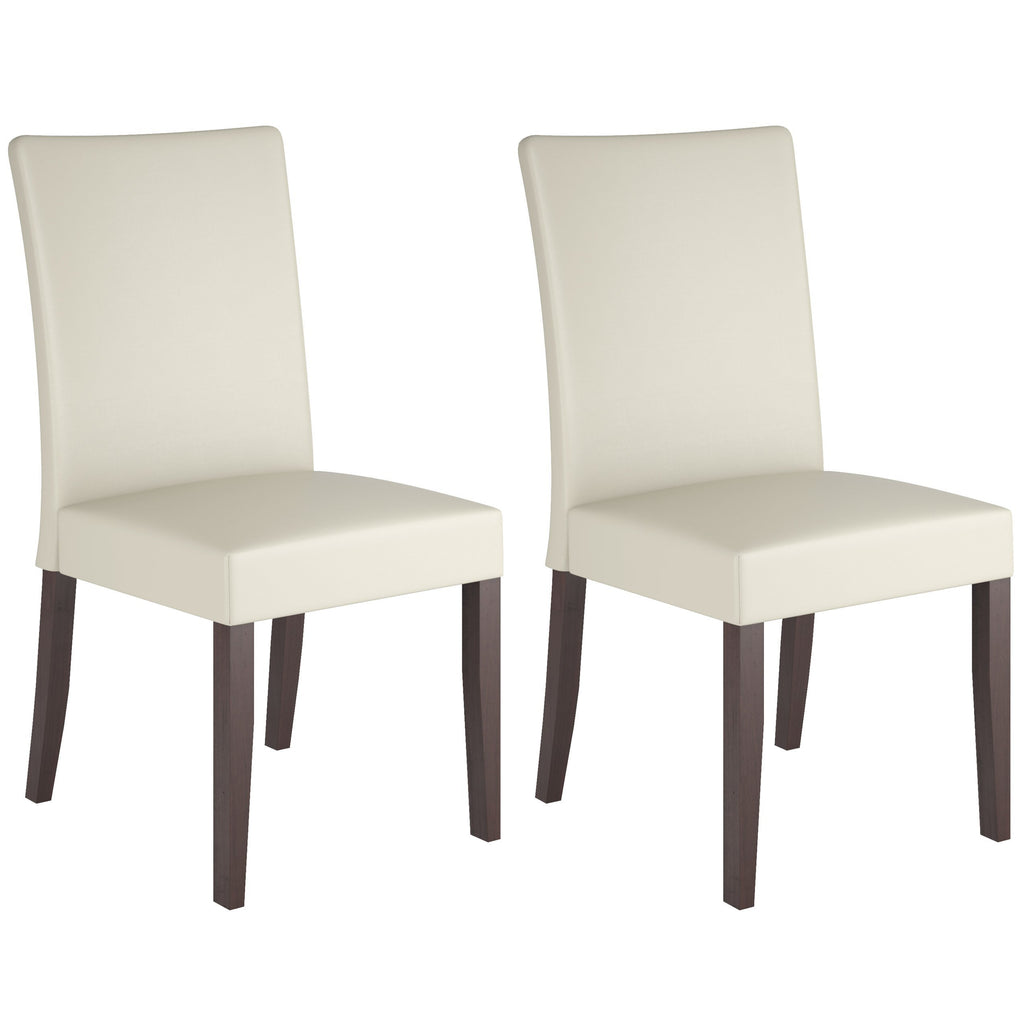 Cream Leatherette Dining Chairs, Set of 2