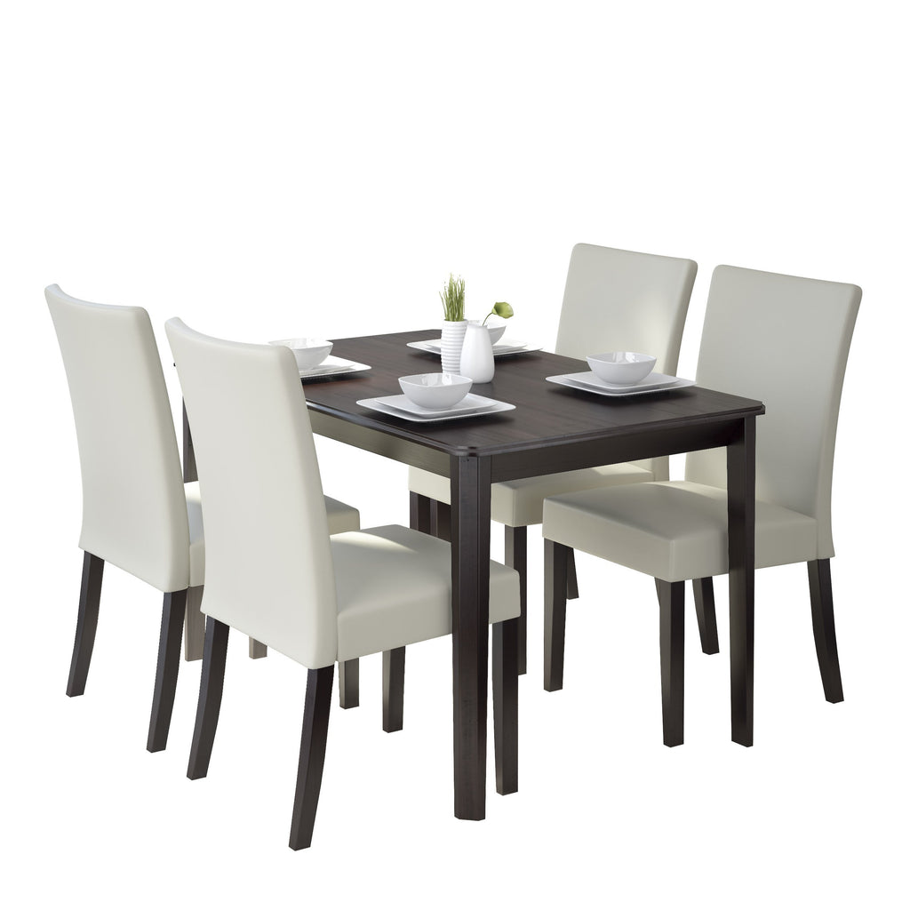 5 Piece Dining Set, with Cream Leatherette Seats - *CLEARANCE*