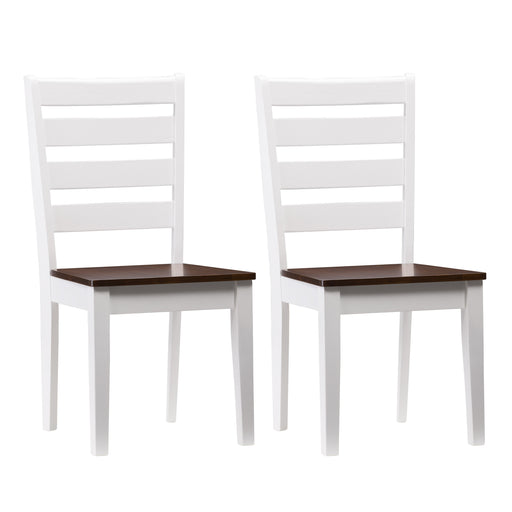 White and Brown Duotone Solid Wood Dining Chairs with Horizontal Slats, Set of 2