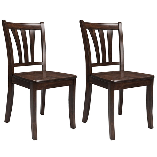 Dillion Stained Solid Wood Dining Chairs with Curved Vertical Slat Design, Set of 2